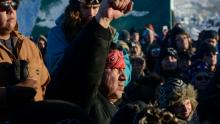 Protesters shouted 'water is life' upon learning Dakota Access Pipeline construction had been halted nearing the Standing Rock reservation. (Stephanie Keith/Reuters)