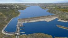 A project rendering of BC Hydro's Site C development proposal in Peace River Valley, B.C. (BC Hydro)