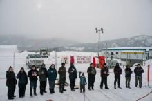 Wet'suwet'en land defenders gather outside a Coastal GasLink work sitework site on Feb. 14, 2021, for a ceremony to remember Missing and Murdered Indigenous Women and Girls. Photo: Michael Toledano
