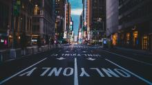 A deserted Times Square during the coronavirus lockdown in New York City. Photo by Paulo Silva on Unsplash