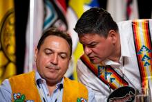 Assembly of First Nations Chief Perry Bellegarde speaks with Ontario Regional Chief Isadore Day at an AFN Special Chiefs Assembly on May 2. Photo by Alex Tétreault