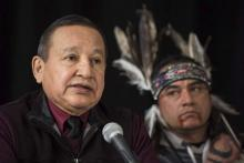 The Grand Chief of the Union of British Columbia Indian Chiefs, Stewart Phillip, gives a news conference with indigenous leaders and politicians opposed to the expansion of the Trans Mountain oil pipeline in Vancouver, Canada on April 16. 2018. Behind is William George, a member of the Tsleil-Waututh First Nation and a guardian at the watch house near Kinder Morgan Inc. Burnaby oil facility.Photo: Darryl Dyck, SUB / Associated Press