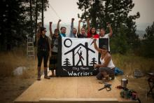 Women involved in the tiny house build are protesting the Kinder Morgan pipeline extension that is planned to go through the territory of the Secwepemc people.  (IAN WILLMS/GREENPEACE)