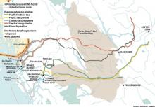 Four pipelines needed to carry natural gas to LNG plants on the B.C. pas through dozens of First Nations communities. | Source: Ecotrust Canada