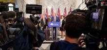 Image: Premier John Horgan, with Ministers George Heyman (Environment and Climate Change) and Michelle Mungall (Energy, Mines and Petroleum Resources), announces that the BC government will complete construction of the Site C hydroelectric dam. Source: Province of British Columbia / Flickr