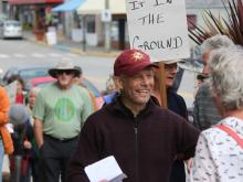 RISING UP: Powell River resident Ron Berezan will be going to jail for his arrest at the Kinder Morgan terminal in May during a week of protests against the Trans Mountain Pipeline. David Brindle photo