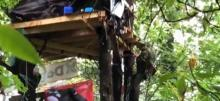 RCMP tactical officers removed tree houses built by protestors trying to block Trans Mountain pipeline expansion work to continue. Screen shot/Twitter