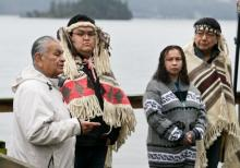 From left, Tom Sampson of the Tsartlip Nation speaks at a news conference with Tsartlip Chief Don Tom, Pauquachin Chief Rebecca David and Tsawout Chief Harvey Underwood, who vowed to fight an LNG plan by the neighbouring Malahat First Nation.   Photograph By DARREN STONE - See more at: http://www.timescolonist.com/business/saanich-inlet-first-nations-united-in-fight-against-proposed-lng-plant-1.2188114#sthash.7YP7ZWm2.9o6HHFMg.dpuf
