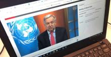 UN News/Daniel Dickinson The UN Secretary-General António Guterres appeals for a global ceasefire in a virtual press conference broadcast on UN Web TV.