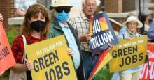 Demonstrators from the Sierra Club, Workers For Progress, Our Revolution, and the Chesapeake Climate Action Network picket in front of the office of U.S. Senator Shelley Moore Capito (R-W.Va.) as part of the Thrive National Day of Action on June 3, 2021 in Morgantown, West Virginia. (Photo: Jeff Swensen/Getty Images for Green New Deal Network)