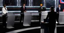 Green Party Leader Annamie Paul, Liberal Leader Justin Trudeau, left to right, NDP Leader Jagmeet Singh, and Conservative Leader Erin O'Toole take part in the federal election English-language Leaders debate in Gatineau, Que., on Thursday, Sept. 9, 2021. THE CANADIAN PRESS/Justin Tang Photo: Justin Tang / The Canadian Press