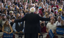 Bernie Sanders makes clear he wants to restore progressive taxation and a higher minimum wage. Photograph: Evan Vucci/AP