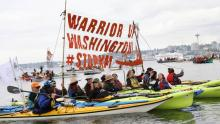 Those protesting included members from various environmental groups, such as Greenpeace USA, Protectors of the Salish Sea and 350 Seattle. (Briar Stewart/CBC)