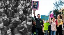 Young people have stepped up to serve before; a youth mobilization to confront the climate emergency could be just what Canada needs. Photos by Royal Air Force official photographer Woodbine G (left), Lewis Parsons / Unsplash (right)