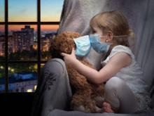 child and stuffy with face mask - Shutterstock