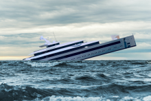 Sinking Yacht illustration - Even amid the pandemic, the ultra-rich have continued to hide and hoard their fortunes. The time for a wealth tax is now, write Linda McQuaig and Neil Brooks. Image by Canadian Dimension.