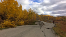 A landslide in Northern B.C. is just one kilometre from Site C. Photo from B.C. Ministry of Transportation and Infrastructure