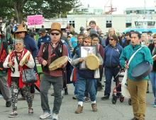 Drummers against the Trans Mountain project at a previous protest. North Shore News file photo