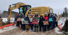 Water protectors protested at a construction site for the Line 3 pipeline near Cloquet, Minnesota on February 2, 2021. (Photo: Line 3 Media Collective)