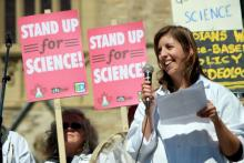 Dr. Katie Gibbs speaks at a Stand Up for Science rally at Parliament Hill in Ottowa last September. (Evidence for Democracy / Kevin O'Donnell)