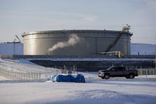 A storage tank in Hardisty, Alberta, Canada.