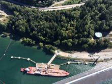 A tanker fills up at the Kinder Morgan Westridge Marine Terminal on the Burrard Inlet. Photograph By NOW FILES