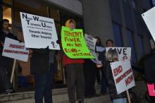 Tenants descended on New Westminster City Hall in February 2019 to support the city's plan to take action to prevent renovictions.Record/File