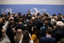The media attends a briefing at the COP25 climate talks congress in Madrid, Spain, Saturday, Dec. 14, 2019. AP Photo / Manu Fernandez