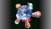 image of globe under threat with heads of leaders, polar bear, nuclear explosion