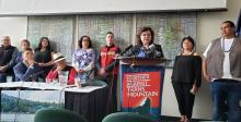 First Nations announce the new round of TMX legal challenges at a press conference in July 2019. (Photo: Eugene Kung)