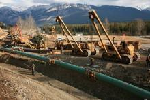 In an undated image, crews work on Kinder Morgan's Trans Mountain pipeline in Western Canada. Photo courtesy of Kinder Morgan Canad