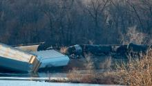 Train cars lie overturned outside of Alma, Wis. after derailing on Saturday, Nov. 7, 2015. A CP train derailed Sunday in the state - federal investigators and hazardous material specialists are on their way to that scene near Watertown, Wis. (Aaron Lavinsky/Star Tribune/Associated Press)