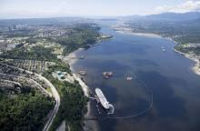 A aerial view of Kinder Morgan's Trans Mountain marine terminal, in Burnaby, B.C. Photo: Jonathan Hayward / The Canadian Press