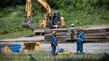 The Supreme Court of Canada has rejected an appeal by B.C. First Nations challenging federal approval of the Trans Mountain pipeline expansion project, the Burnaby portion of which is pictured in June 2019.(Ben Nelms/CBC)
