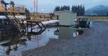 An estimated 50,000 gallons of crude oil leaked from the Trans Mountain pipeline at the Sumas Pump Station in Abbotsford, British Columbia on June 13, 2020 (Photo: Trans Mountain Corporation)
