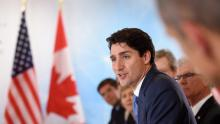 Prime Minister Justin Trudeau takes part in a roundtable discussion on the future of energy with industry leaders at CERAweek in Houston on Thursday. (Sean Kilpatrick/The Canadian Press)