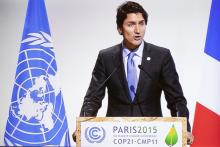 Prime Minister Justin Trudeau delivers speech to climate delegate in Paris on November 30, 2015 at COP21 summit. File photo by Mychaylo Prystupa.
