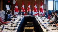 Prime Minister Justin Trudeau, centre, attends a meeting of the Prime Minister's Youth Council in Calgary on Wednesday, Jan. 25, 2017.THE CANADIAN PRESS/Jeff McIntosh