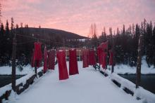 A rare pink sunrise at the Unist'ot'en Healing centre, as police prepare for their second day of injunction enforcement near Houston, B.C. on Friday Feb. 7. Photo: Amber Bracken / The Narwhal
