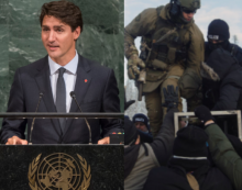 Photos: Prime Minister Trudeau addresses the United Nations in September 2016, the RCMP raid Wet'suwet'en territory in January 2019.