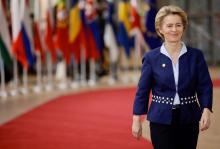 European Commission President Ursula von der Leyen arrives for EU summit in Brussels, Thursday, Dec. 12, 2019. AP Photo/Olivier Matthys