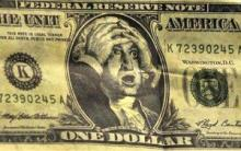 US Dollar note with hands on head!
