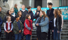 Some of the 15 young people suing the federal government speak to a climate protest in Vancouver on Oct. 25, 2019, the day they launched their legal challenge. Photo supplied by David Suzuki Foundation